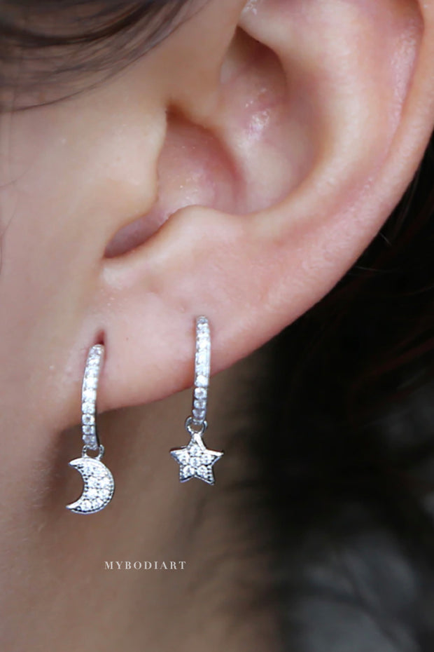 Cute Minimal Dainty Crystal Star Moon Half Huggie Hoop Drop Earrings for Women Fashion Jewelry in Gold or Silver - www.MyBodiArt.com