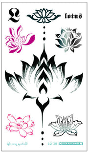 Beautiful Simple Watercolor Floral Flower Lotus Black Temporary Tattoo Art Design Ideas Women's Teens Girls - www.MyBodiArt.com #tattoos