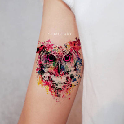 Cute Watercolor Owl Bird Bicep Arm Temporary Tattoo Ideas for Women -  Acuarela búho tatuaje ideas para mujeres - www.MyBodiArt.com