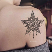 Tribal Boho Mandala Star Chandelier Shoulder Back Tattoo Ideas for Women - www.MyBodiArt.com