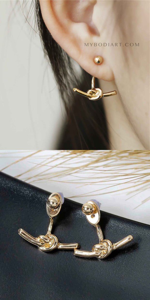 Artsy Ear Piercing Ideas for Women - Modern Popular Knot Ear Jacket Earrings in Gold or Silver - ideas artísticas piercing oído para las mujeres - www.MyBodiArt.com