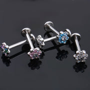 Rainbow Pink Blue Clear Crystal Flower Ear Piercing Jewelry Earring Stud for Cartilage Helix Tragus Conch Medusa Labret Jewelry Jewellery - www.MyBodiArt.com