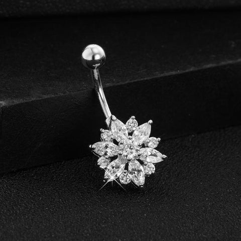 Cute Clear Crystal Flower Belly Button Ring Piercing Stud in Silver - www.MyBodiArt.com