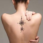 Unique Black Compass Arrow Spine Back Tattoo Ideas for Women -  brújula de nuevo ideas del tatuaje para las mujeres - www.MyBodiArt.com #tattoos