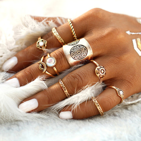 Boho Ring Set - Opal Cute Stackable Vintage Antiqued Multiple Midi Rings Fashion Jewelry in Gold or Silver -conjunto de anillos de oro bohemio - www.MyBodiArt.com #rings
