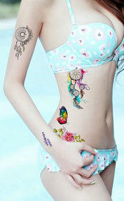 Watercolor Dreamcatcher Rib Tattoo Ideas for Women - Rainbow Colorful Small Butterfly Hip Tat - Pluma de acuarela Rib Tattoo Ideas para mujeres - www.MyBodiArt.com
