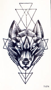 Small Tribal Wolf Tattoo Ideas for Women - Black Geometric Feminine Native American Traditional Spirit Animal Tat - www.MyBodiArt.com #tattoos