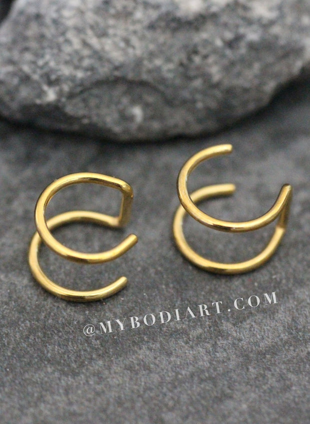Minimalist Ear Piercing Ideas for Women - Dainty Double Cartilage Fake Top Ear Cuff Earring - Delicadas orejas Piercing Ideas para mujeres  -  www.MyBodiArt.com #earrings