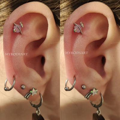 Planet Cartilage Piercing Cute Multiple Ear Piercing Earrings Opal Space Galaxy Planet Stud - www.MyBodiArt.com #piercings #earpiercings