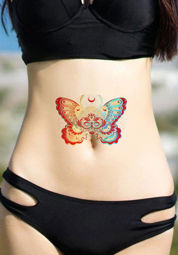 Watercolor Butterfly Stomach Temporary Tattoo Ideas for Women - www.MyBodiArt.com #tattoos