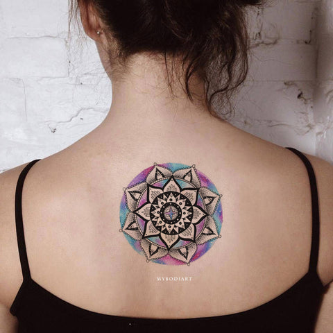 Cool Unique Black Watercolor Mandala Back Tattoo Ideas for Women - www.MyBodiArt.com #tattoos