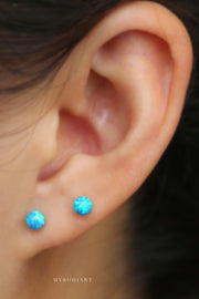 Cute Opal Ball Ear Piercing Jewelry Stud for Cartilage Helix Conch Earlobe -  lindas ideas para perforar orejas - www.MyBodiArt.com