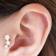 Cute Simple Triple Crystal Star Tragus Ear Piercing Jewelry Ideas for Women -  linda estrella oreja piercing ideas - www.MyBodiArt.com