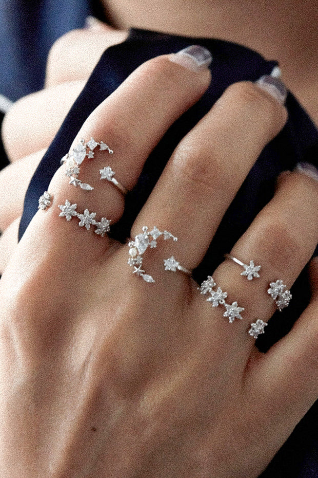 Adjustable Stackable Midi Statement Rings Set - Crystal Moon Star Flower - Jewelry Jewellery -  conjunto de anillos de flores de cristal - www.MyBodiArt.com