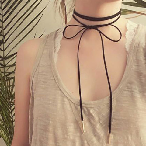 Black Suede Long Leather Double Wrap Tie Up Choker Necklace Outfits at MyBodiArt.com