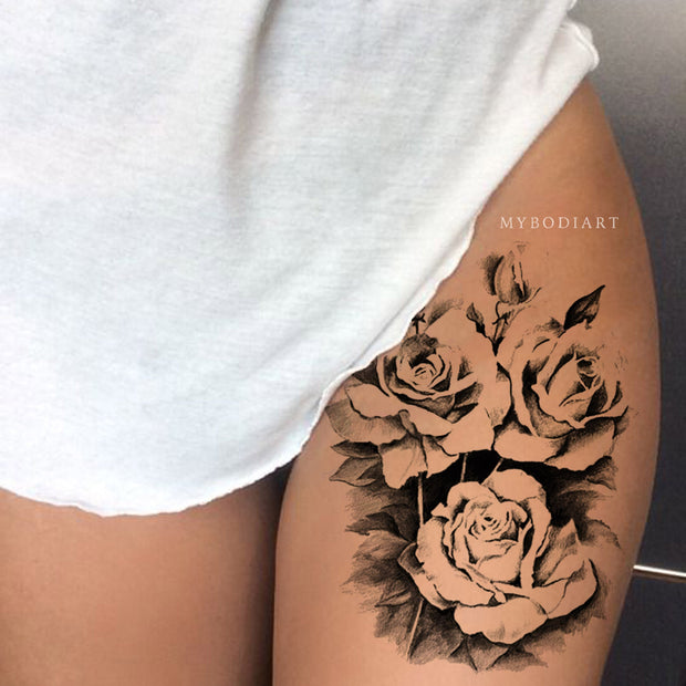 Sexy Black Rose Flower Thigh Tattoo Ideas for Women -  Ideas de tatuajes en rosa negro para mujeres - www.MyBodiArt.com