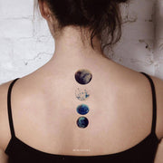 Beautiful Unique Watercolor Planet Moon Back Tattoo Ideas for Women -  ideas de tatuajes de luna atrás para mujeres - www.MyBodiArt.com #tattoos