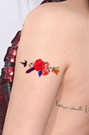 Unique Rose Arrow Arm Tattoo Ideas for Women - Colorful Watercolor Floral Flower Bicep Tat - www.MyBodiArt.com #tattoos