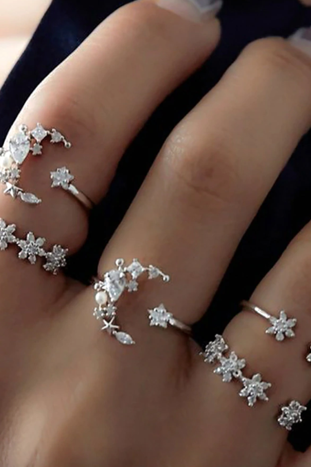 Alpha Crystal Flower Moon Star Midi Stackable Statement Ring Set 5pcs