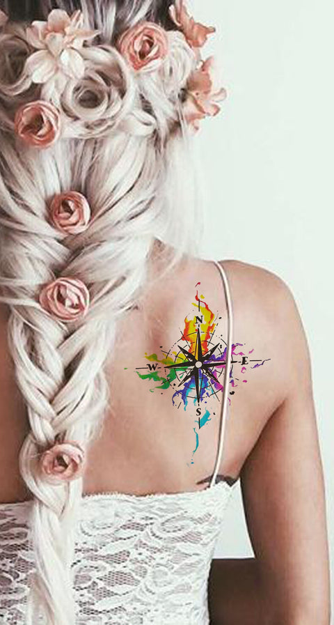 Rainbow Watercolor Compass Back Shoulder Tattoo Ideas for Women - arco iris acuarela brújula atrás tatuaje ideas - www.MyBodiArt.com #tattoos