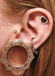 Tribal Ear Plugs Gauge Tunnel Stretcher in Brass at MyBodiArt.com -  Heart Cartilage Earring - Small Crystal Tragus Stud