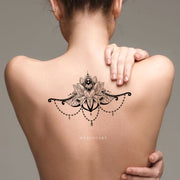 Unique Cool Tribal Boho Chandelier Lotus Mandala Back Temporary Tattoo Ideas at MyBodiArt.com - www.MyBodiArt.com
