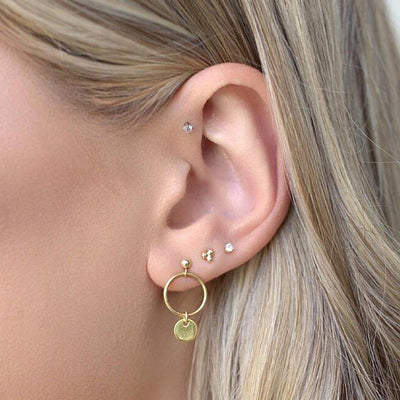 Boho Multiple Ear Piercing Ideas Cute Triple Ball Hoop Cartilage Tragus Triple Forward Helix Jewelry  - lindas orejas piercing ideas para las mujeres - www.MyBodiArt.com