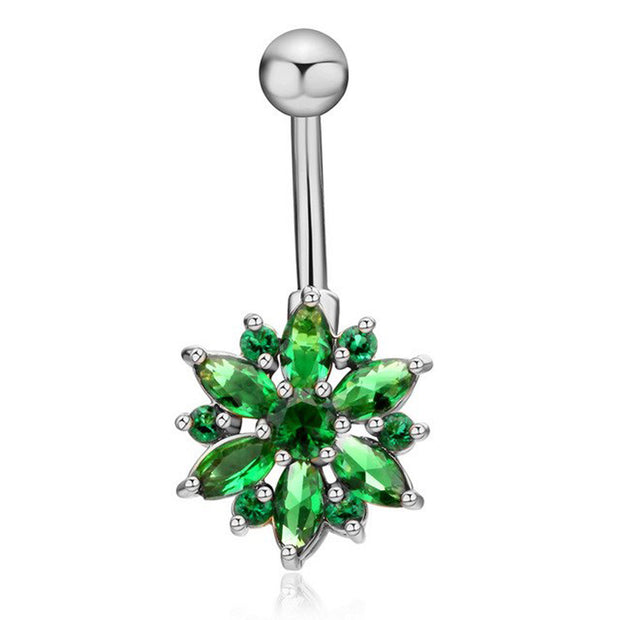 Cute Green Crystal Flower Belly Button Ring Piercing Stud in Silver - www.MyBodiArt.com
