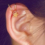 Cute Simple Star Cartilage Ear Piercing Ideas - Ear Cuff Clip Earrings for Cartilage Helix Ear Lobe in Star, Heart, Crystal, Cross Design in Gold or Silver - lindas orejas piercing ideas para las mujeres - www.MyBodiArt.com