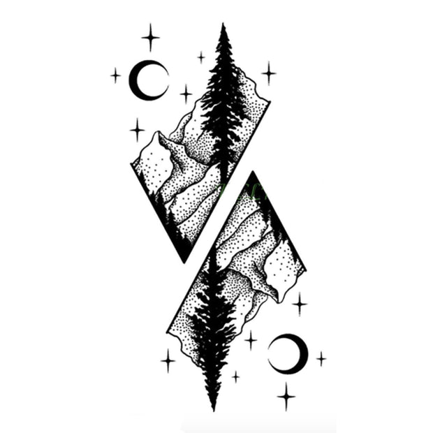 Cool Black Nature Tattoo Ideas for Women Diamond Mountain Tree Moon Tat  - Ideas de tatuajes naturales para mujeres  -  www.MyBodiArt.com