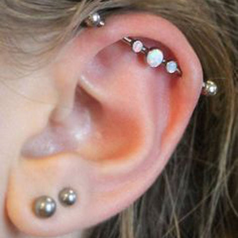 Unique & Cute Multiple Ear Piercing Ideas - Opal Industrial Barbell Earring Jewelry Jewellery in 14G Scaffold Piercing at MyBodiArt.com