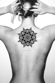 Cool Mandala Back Spine Tattoo Ideas for Women Tribal Boho Black Henna Lotus Tat -  Ideas de tatuajes para mujeres - www.MyBodiArt.com