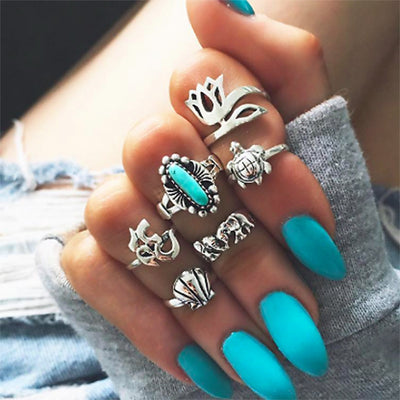 Turquoise Boho Fashion Rings Set Cute Vintage Antiqued Silver Stackable Midi Rings Bohemian Turtle Seashell Elephant Lotus - www.MyBodiArt.com #rings