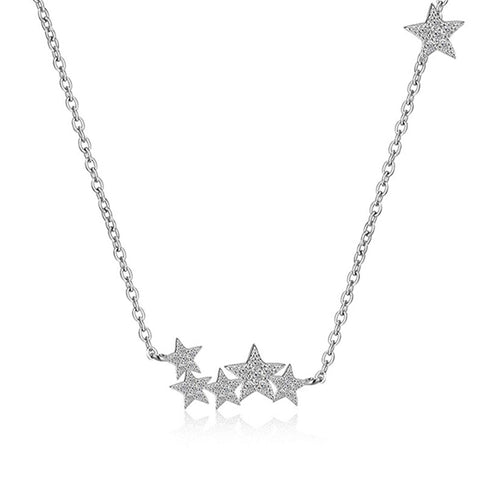 Cute Star Floating Silver Choker Necklace for Women -  Gargantilla estrella linda en plata - www.MyBodiArt.com