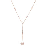 Dainty Cute Crystal Star Lariat Necklace for Women Fashion Statment Jewelry for Teens in Rose Gold Silver - Bonito collar de estrella de cristal - www.MyBodiArt.com #necklace