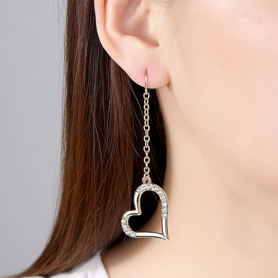 Cute Crystal Heart Chain Dangle Drop Earrings - Statement Jewelry for Teens - Pendientes colgantes de cadena de corazón de cristal lindo - www.MyBodiArt.com #earrings