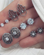 Cute Vintage Large Crystal Earring Studs Set Traditional Antique Old Fashioned Victorian Tribal Boho Hamsa Earrings - www.MyBodiArt.com #earrings