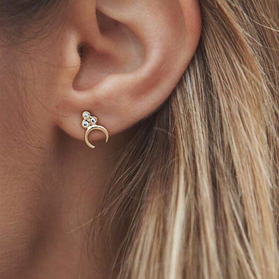 Cute Boho Simple Moon Ear Piercing Ideas for Women - Small Crystal Moon Earring Studs Cartilage Helix Conch Earrings  in Silver or Gold - www.MyBodiArt.com #earrings
