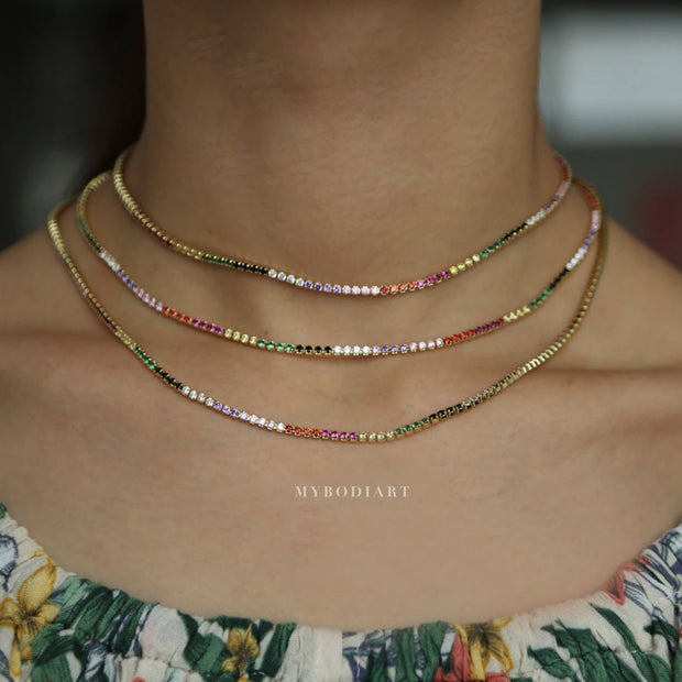 Cute Simple Rainbow Gemstone Pave Crystal Stackable Layered Choker Necklace in Gold, Silver Statement Fashion Jewelry for Women for Teen Girls - lindo collar de arco iris - www.MyBodiArt.com