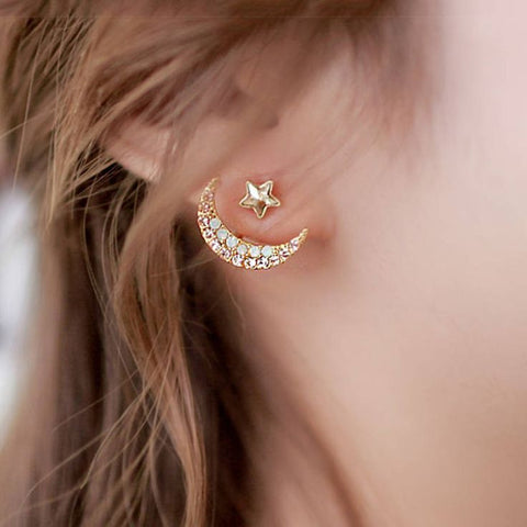 Moon Crescent Ear Jacket Earring Jewelry for Women in Gold at MyBodiArt.com