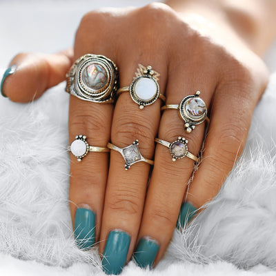 Chunky Boho Rings Set Moonstone Seashell Crystal Tribal Vintage Antiqued Gold Stackable Gypsy Hippie Ring - anillo bohemio para mujer - www.MyBodiArt.com #rings