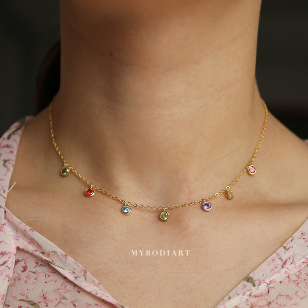 Cute Dainty Rainbow Gemstone Crystal Bead Droplets Stackable Layered Choker Necklace in Gold Statement Fashion Jewelry for Women for Teen Girls - lindo collar de arco iris - www.MyBodiArt.com