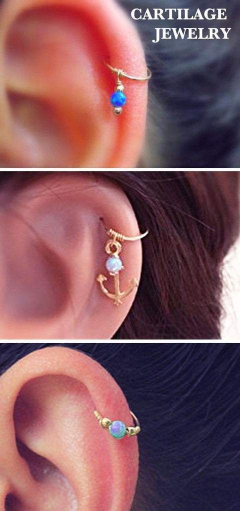 Cute Cartilage Ear Piercing Ideas for Women Simple Opal Hoop Helix Jewelry -  lindo piercing de cartílago ideas - www.MyBodiArt.com