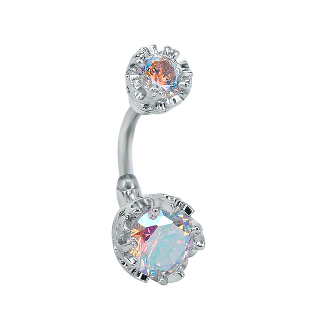 Cute Double Crystal Belly Button Piercing Stud Simple Navel Ring in Clear or Rainbow Aurora Borealis - www.MyBodiArt.com