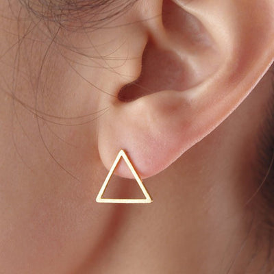 Simple Modern Ear Piercing Ideas for Women - Geometric Triangle Wire Earring Studs in Gold - www.MyBodiArt.com #earrings