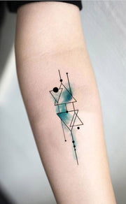Geometric Triangle Watercolor Blue Linework Outline Forearm Tattoo Ideas for Women - www.MyBodiArt.com #tattoos