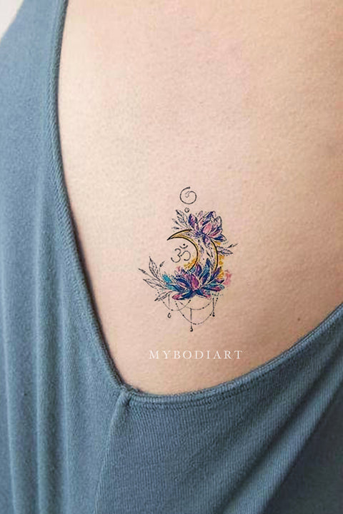Cute Small Watercolor Chandelier Moon Lotus Rib Temporary Tattoo Ideas for Women - www.MyBodIArt.com