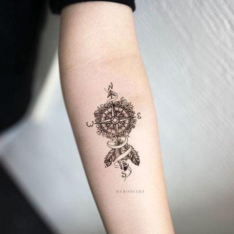 Tribal Boho Dreamcatcher Arrow Compass Forearm Tattoo Ideas for Women - Ideas de tatuaje de antebrazo bohemio para mujeres - www.MyBodiArt.com