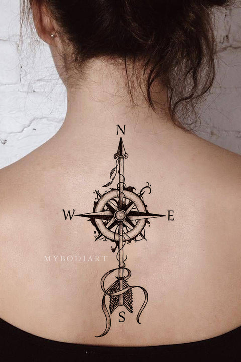 Vintage Compass Arrow Tattoo Ideas Back Tattoos for Women - MyBodiArt.com