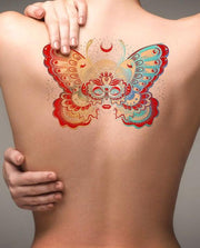 Watercolor Butterfly Back Temporary Tattoo Ideas for Women - www.MyBodiArt.com #tattoos